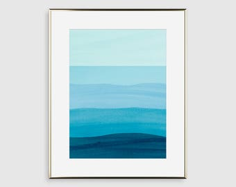 Ocean Art Print, Beach Decor, Abstract Watercolor Art, Bedroom Wall Decor, Teal Wall Art, Bathroom Decor, Minimalist Poster