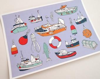 Nautical Illustration A4 Art Print | Boats, Seaside, Harbour
