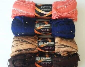 SALE Ruffle yarn, Kartopu Payeto lambada lame, flamenco, fantasy, sashy, ribbon  scarf knitting yarn, Ribbon mesh yarn with sequin