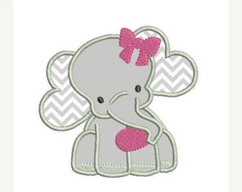 ON SALE Girl Elephant Applique Embroidery Design - Instant Download