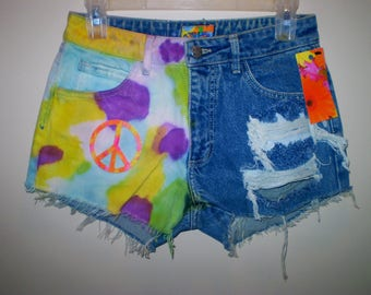 Tie Dye Distressed High Waist PEACE Shorts VINTAGE