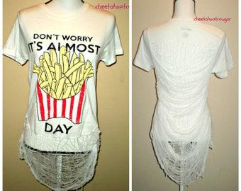 Friesday Destroyed Shredded Shirt