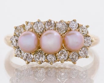 Antique Ring - Antique Victorian 14k Rose Gold Diamond & Pearl Ring