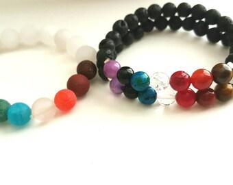Chakra Bracelet, 7 Chakra Jewelry, Lava Beads, Diffuser Bracelet, His and Her Jewelry, Aromatherapy Jewelry, Unisex Bracelets, Couples Gift