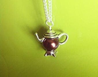 Silver Pendant chain necklace teapot Brown Pearl