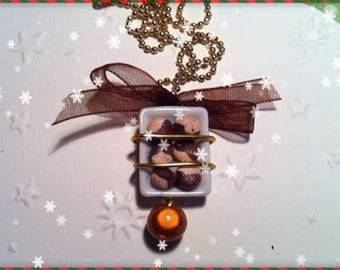 Chocolate Christmas ref 34 plate pendant necklace