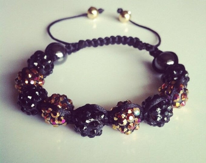 Shamballa bracelet adjustable black and bronze #35