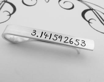Pi Tie Bar - Hand Stamped Skinny Tie Clip - Pi Day - 3.141592653 - Math Teacher - Math Student - Pi Tie Bar - Christmas Gift - kg31415