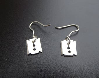 silver gothic punk razorblade earrings