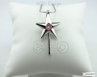 Pick A Pearl Cage Magic Fairy Wand Star Silver Plated Locket Charm Necklace