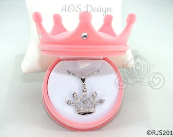 """Princess Cinderella Tiara Crown Necklace Silver Plated Pendant Crystals 18"""" Chain New with Crown Gift Box"""