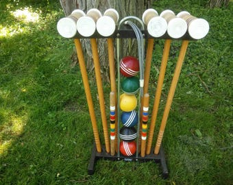 Vintage Forster Six Player Wood Croquet Set with Plastic Holder - Garden Croquet - Croquet - Vintage Croquet