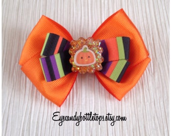 Orange Halloween Hair Bow