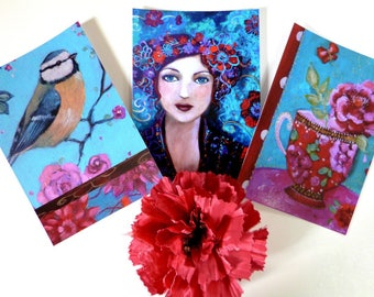 Art postcard with a boho and romantic spirit.