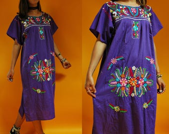 1980s Purple Mexican Hand Embroidered Floral Sun Dress