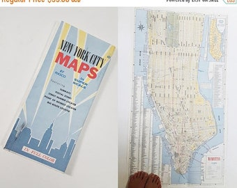 the super sale 1960s new york city hasco double sided jumbo poster size street map