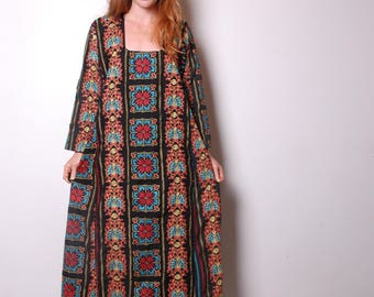 70s medium embroidered caftan ethnic dress womens vintage clothing boho hippie festival outfit long sleeve maxi large 1980s A line