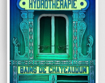30% OFF SALE: Hydrotherapie - Paris illustration Fine Art illustration Giclee art print Poster Paris windows Home decor Wall decor Green Tur