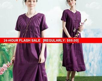 Flash Sale Linen Tunic Dress In Purple, Long Linen Dress With Tucks, Short Sleeve Dress, Shirt Dress, Shift Dress, Loose Fitting Dress,