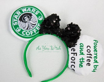 Coffee Star  bucks inspired Force awakens Leia ears