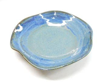 Ceramic Altered Bowl Pottery Bowl Serving Bowl Decorative Bowl  Artsy Pottery Decorative Bowl Modern Bowl Medium in Blue and Purple