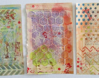 gelli print mono print paper altered book pages art journal doodle pages vintage german novel