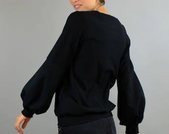 Cotton sweater with balloon sleeves in black, black sweater, SchwarzerPullover, Oekotex jersey jumper, balloon sleeve sweatshirt,