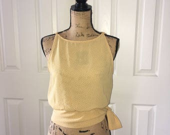 Yellow Dotted Waist Tie Blouse sz Small