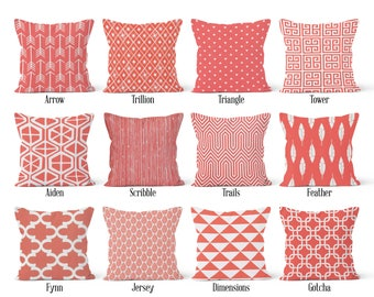 Coral Pillow Cover, Decorative Throw Pillow Covers, Euro Pillow Sham 16 x 16, 18 x 18, 20 x 20, 22 x 22, 24 x 24, 26 x 26