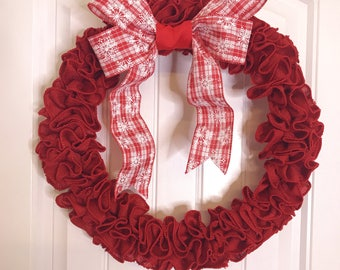 """Red Jute Rustic Christmas Wreath with Peppermint Plaid Bow 18"""""""
