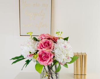 Real Touch Fuschia Pink Roses and Finest White Silk Peonies Arrangement with Artificial Faux in Square Glass Vase for Home Decor