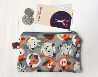 Dog Pattern Coin Pouch - Zippered - Small Pouch - Mini Coin Bag - Dog Lover Coin Purse - Boys Gift Idea - Puppies Pouch - Grey, Orange