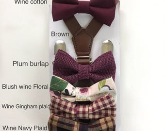 Wine Bowtie Burgundy bowties for  Boy Kid baby infant toddler Men  Adult Maroon Groomsmen Neck tie Groom Wedding Bow tie Ring bearer Outfit