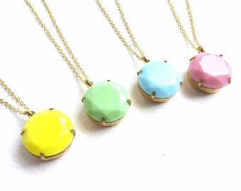 Gorgeous Candy Coloured Vintage Faceted Glass Pendant Necklaces