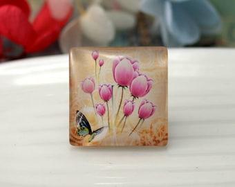 Flower--Square Flat Back Handmade Photo Glass Cabochon - Image Glass Cabochons(10/12/15/20/25/30/40/53mm)