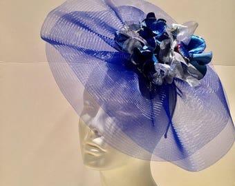 Royal Fascinator- Easter Hat- Ladies Luncheon -High tea- Kentucky Derby- Flower Fascinator -Hydrangea Fascinator- Blue hat