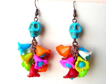 Colorful Day of the Dead Earrings - Kitschy - Skull Flower Earring - Mexican Style Jewelry