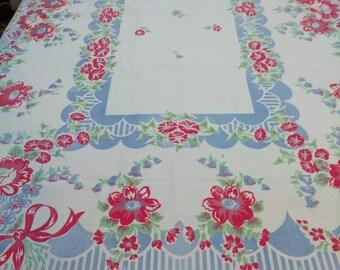 Vintage Flowered Kitchen Tablecloth 50s red, White ,green,blue vintage kitchen,colorful cotton vintage table cover,vintage 1950  floral