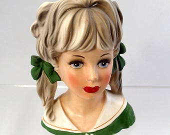 Lady Head Vase Headvase Green Dress School Girl With Pig Tails Brinn's Japan Pony Ribbons Brunette Brown 50s mid century 1950 Porcelain G