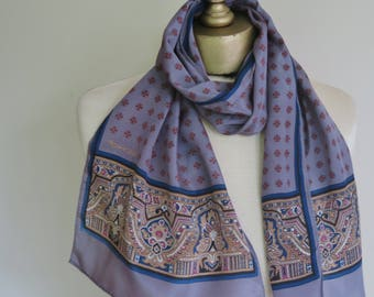 Long silk scarf, PEWTER silk, unisex scarf, paisley scarf, foulard print, gray neck scarf, silk hair wrap,