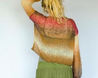Khaki V Neck Knitted Blouse,  Long Sleeve Top, Summer Sweater