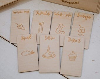 4x6 - custom engraved wood recipe card dividers