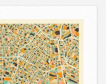 LOS ANGELES MAP (Giclée Fine Art Print/Photographic Print/Poster Print) by Jazzberry Blue (ivory version)