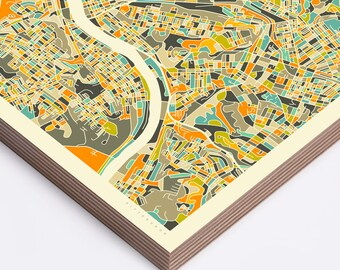 PITTSBURGH MAP, Ready to Hang Wood Print, Wall Art for the Home Decor by Jazzberry Blue