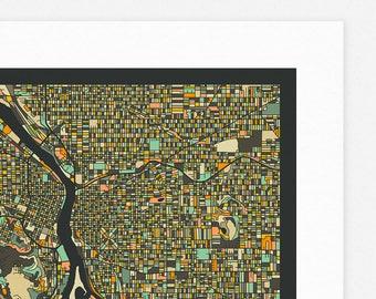PORTLAND MAP (Giclée Fine Art Print, Photographic Print or Poster Print) dark version