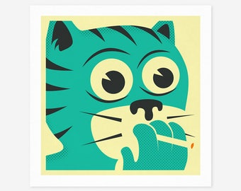 SMOKING CAT (Giclée Fine Art Print/Photo Print/Poster Print) Minimal, Retro, Cartoon Pop Art