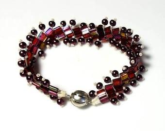 Metallic Burgundy Tila Bead Woven Bracelet Dark Red Pearl Bracelet White Cream Seed Beads Bracelet Magnetic Clasp Bracelet Gifts for Her