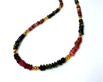 Multi Tourmaline Gemstone Necklace Watermelon Green Pink Dainty Layering Necklace Rainbow Natural Stone Necklace Beaded Jewelry