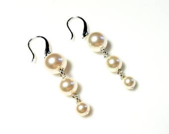 White Swarovski Pearl Silver Earrings Hypoallergenic Earrings Nickel Free Earrings Long Graduated Beaded Earrings Dangle Drop Jewelry