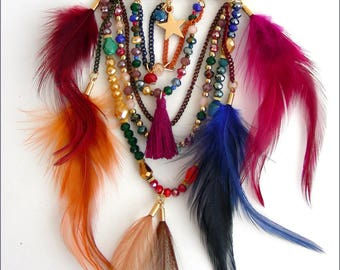 BROOCH - Multicolor pin - beads, Crystal, feathers, tassel and star charm